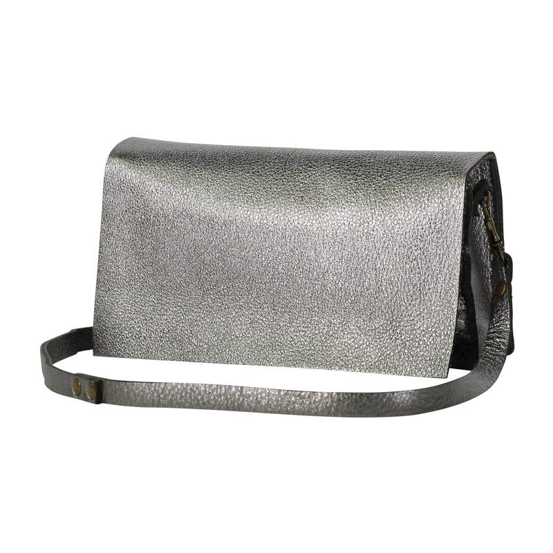 Mini Messenger Bag - Metallic Leather - Gunmetal