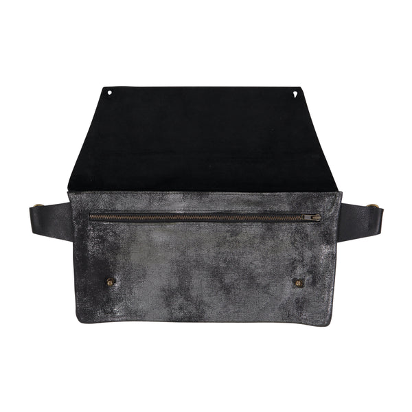 Strasbourg Leather Hip Bag - Distressed Black or Black