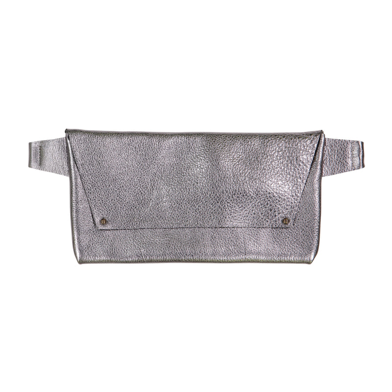 Strasbourg Leather Hip Bag - Metallic Leather - Gunmetal or Bronze