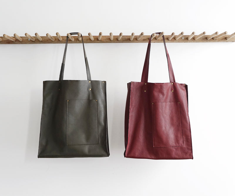 Vertical Tote - Multi-Pockets - Olive Green or Oxblood Italian Leather