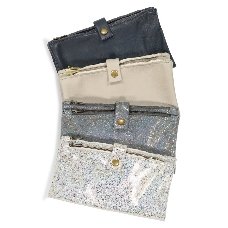 Large Double Zip Wallet - Navy, Oyster, Paprika, Sparkly Grey or Sparkly White - Price from