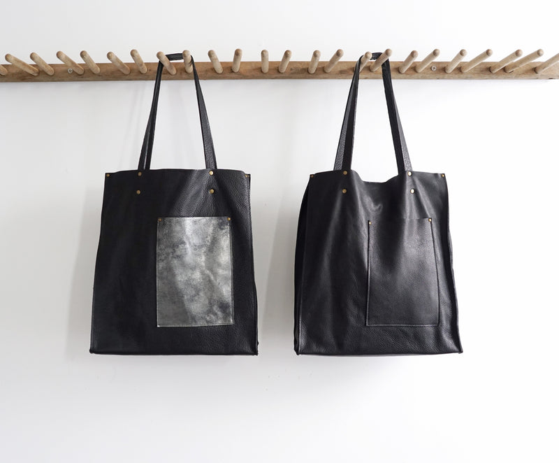 Vertical Tote - Multi-Pockets - Distressed Black or Black Leather