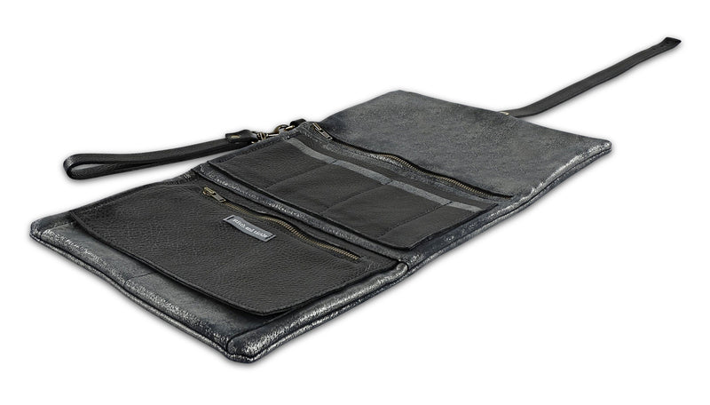 The Traveler - Oversized Wallet Clutch  with Removable Wristlet - Distressed Black or Black