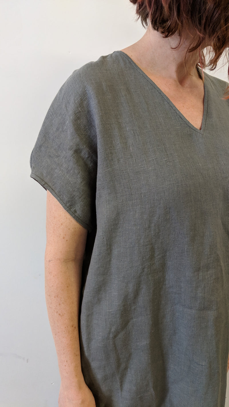Simple, comfortable, grey v-neck shift dress made of 100% medium weight European linen, prewashed. 2 pockets in side seams.