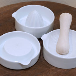 Japanese Porcelain Kitchenware (Lemon Squeezer, Ginger Grater, Mortar & Pestle)