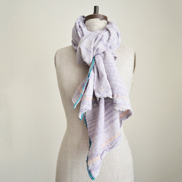 Traditionally used in India as a wrap skirt, this hand spun and hand woven cotton textile is great  to use either as a chunky scarf or as a throw, beach blanket or table cloth, the choice is all yours!  The fact that the thread was home spun then hand woven into cloth gives it a beautiful texture and crisp hold.