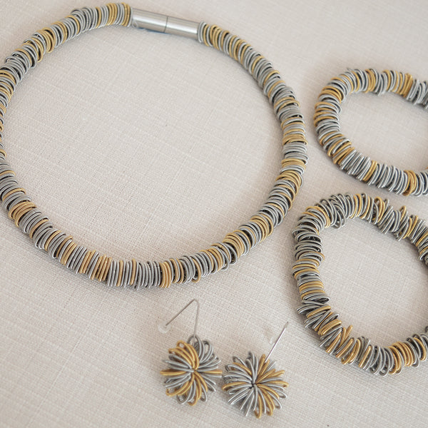 Two Tone Stainless Steel Bracelet and Necklace