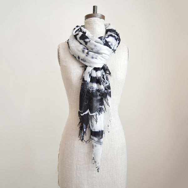 You can never have too many of Chan Luu cashmere and silk scarves. This particular one was tie dyed to achieve a beautiful marbled pattern. Super soft and lightweight - perfect to wear year round. Made of high quality Mongolian cashmere. Fringe trim along the edge. The perfect gift or treat for yourself!  Cashmere / silk blend