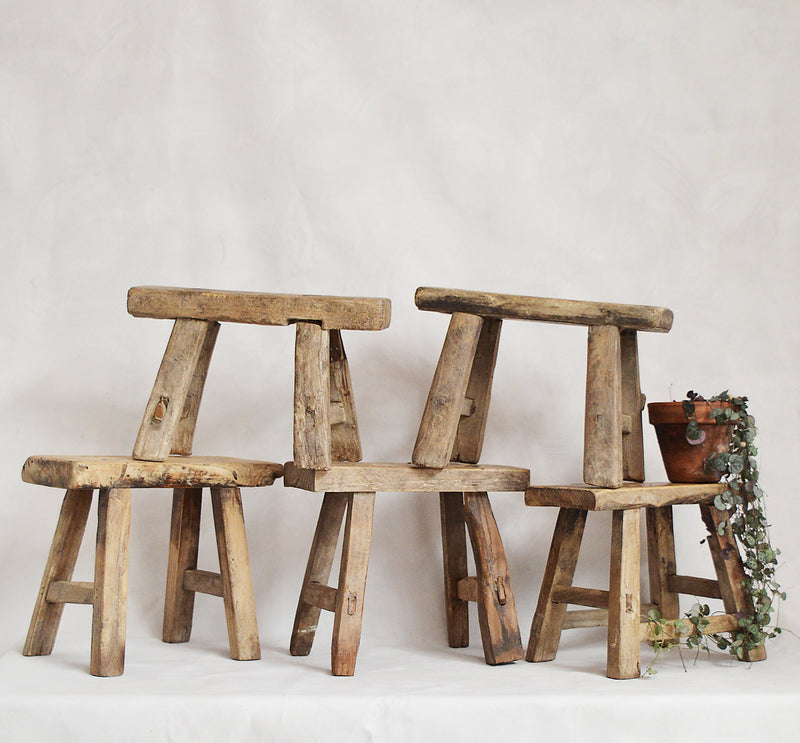We love the simplicity of these old Chinese wood stools which were built for farmers or workers to sit on.  They are ideal to display a special object or plant in your home, or for a child to sit on.   The stools were used so have marks of wear which we think only add character to each piece. Each is unique, even though they have a similar construction.