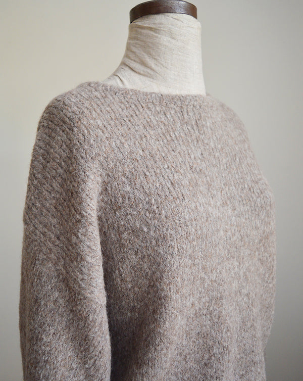 Balloon Sleeve Knit Boucle Sweater - Deer Brown