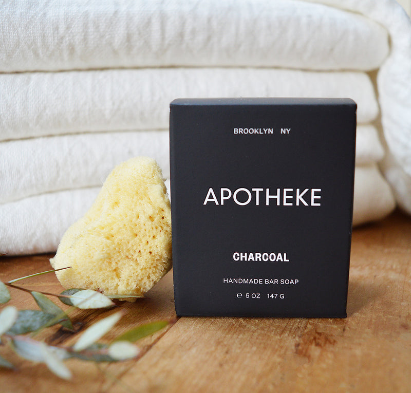 Apotheke's hand made bar soap cleanses and moisturizes in a variety of rich scents. Crafted by hand, Apotheke's all-natural bar soaps are made with 3 kinds of sustainable oils: olive, palm, and a moisturizing coconut base, and then scented with the finest essential oils. Following traditional cold-process techniques, Apotheke measures, mixes, and hand-cuts each batch.