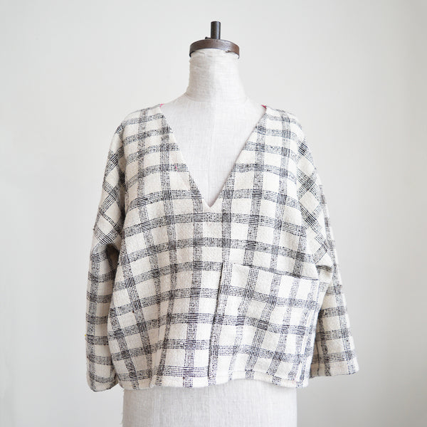 Handmade Cropped Top - White and Brown Plaid - Long Sleeves