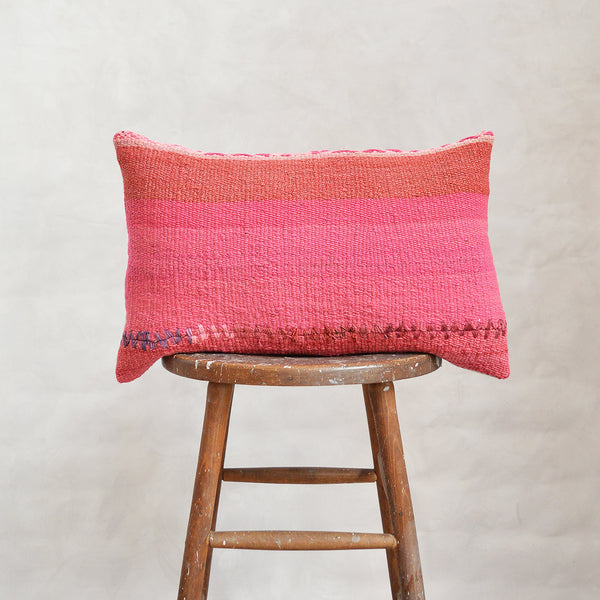 Vintage Peruvian Wool Lumbar Pillow - Pink Stripes