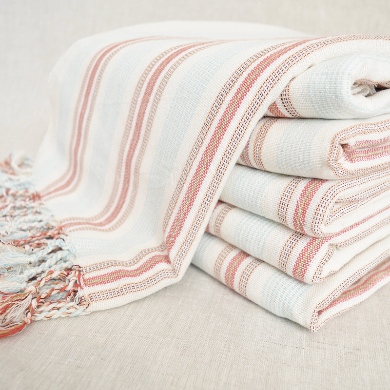 Turkish Cotton Towel / Throw - Coral and Light Blue Stripe