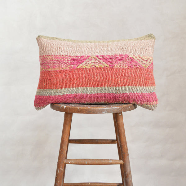 Vintage Peruvian Wool Lumbar Pillow - Wide Stripes