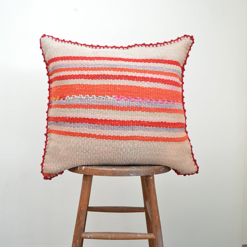 Made of vintage Peruvian blankets, these 100% wool pillows will add a pop of color to your living room. Buy a pair or mix and match for an eclectic touch. Each pillow is unique as it is cut from a vintage, handwoven blanket. Organic dyes. Size: 20x 20