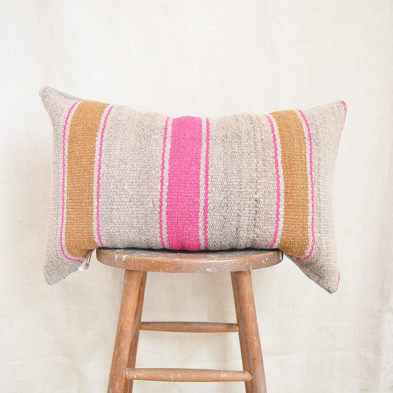 Vintage Peruvian Wool Pillow - Wide Stripes