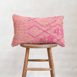 Vintage Peruvian Wool Lumbar Pillow - Pink Flowers/Diamonds