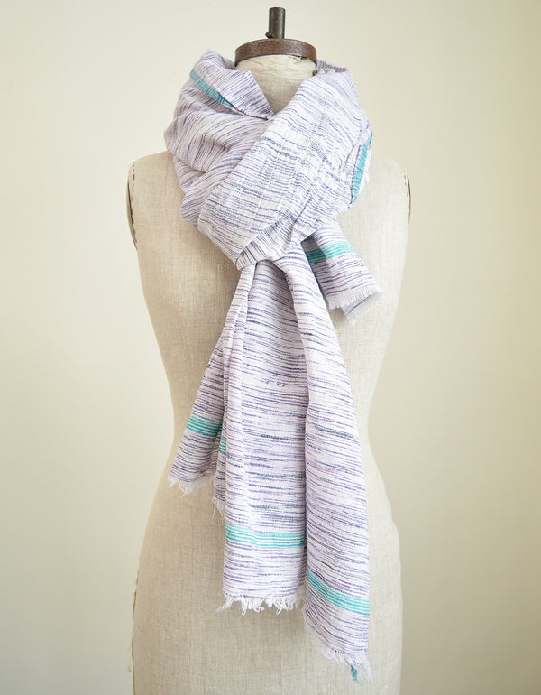 Purple Khadi Cotton Scarf or Throw with Green Border