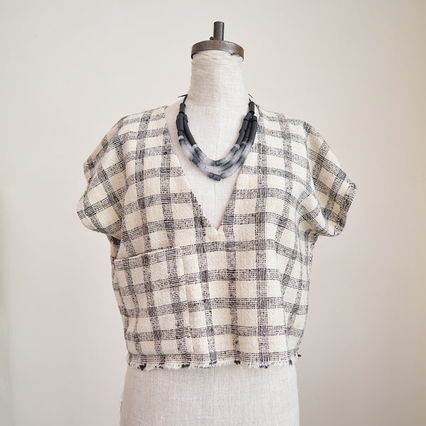 Handmade Cropped Top - White and Brown Plaid - Short Sleeves