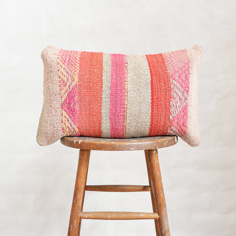 Vintage Peruvian Wool Lumbar Pillow - Coral Stripes