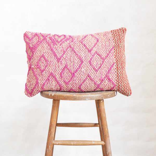 Vintage Peruvian Wool Lumbar Pillow - Pink Diamonds