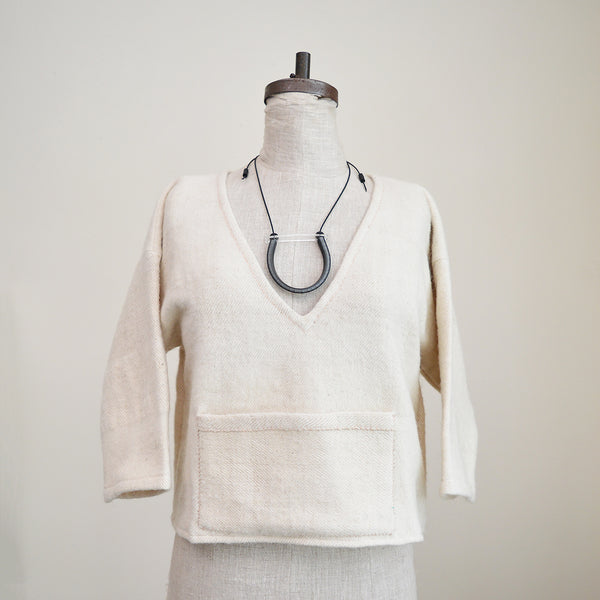 Handmade Cropped Top - Solid White - Long Sleeves