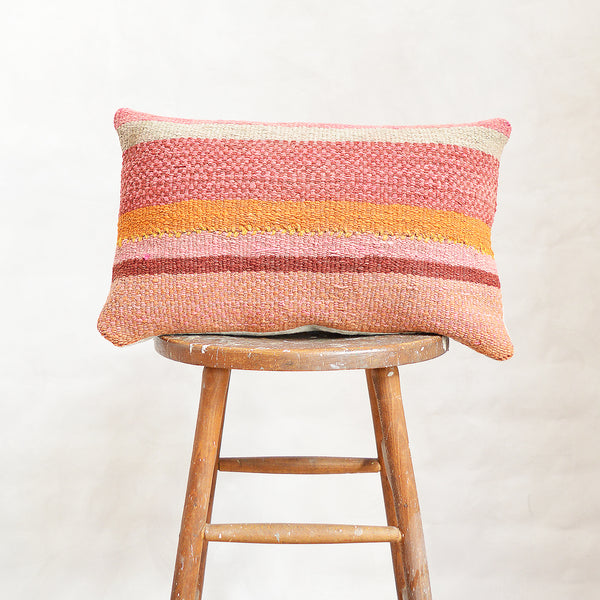 Vintage Peruvian Wool Lumbar Pillow - Pink/Orange Stripe
