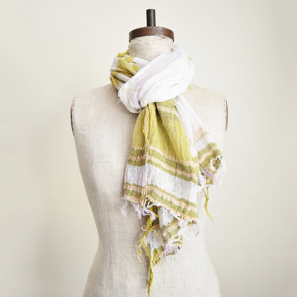 Tamaki Niime soft woven striped cotton scarves. One of a kind. Made in Japan. Medium Root Shawl.
