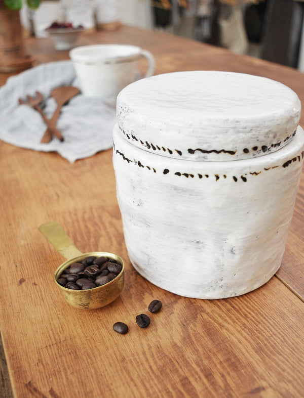 Handmade Ceramic Jar with Lid - Black Dots