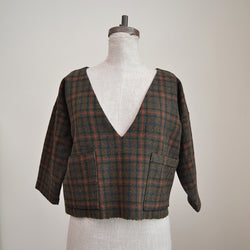 Handmade Cropped Top - Olive Wool Tweed