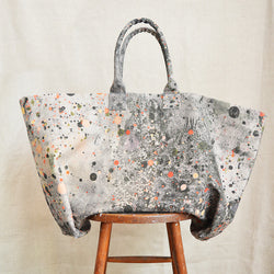 Martyn Thompson oversized canvas tote bag with a splattered dropcloth printed design