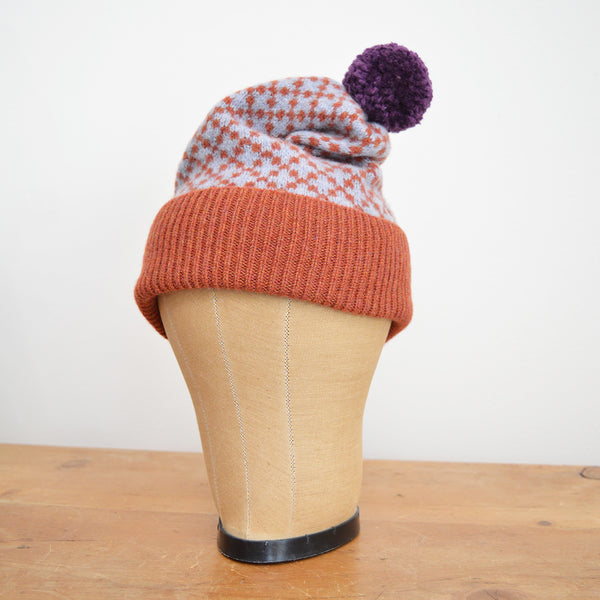 Lambswool Bobble Hat - Cross Pattern