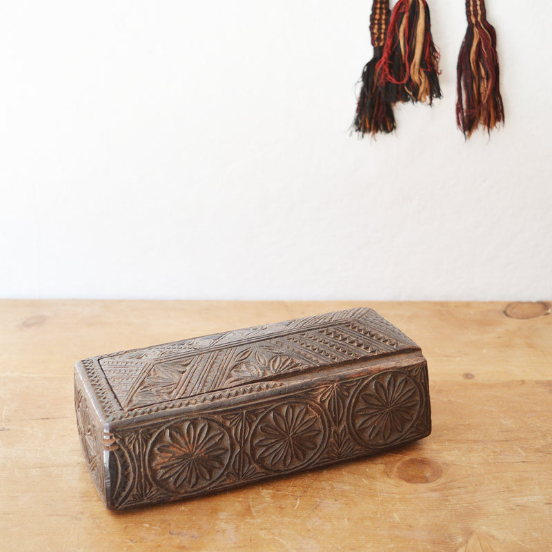 Beautiful, rare, antique hand carved wooden boxes from the Dolpa region of Nepal, where wood carving is a centuries old traditional craft that is still practiced today.