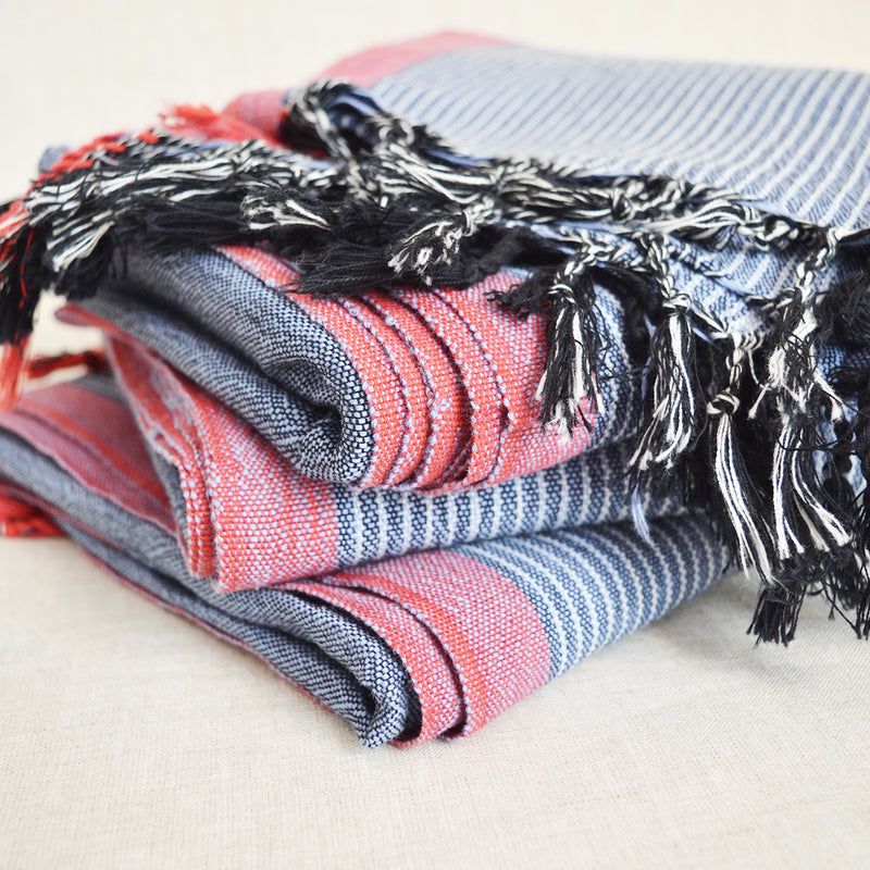 Turkish Cotton Towel / Throw - Blue with Red Border