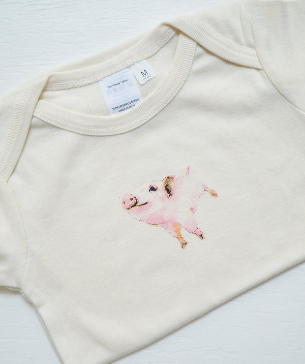 Pig and Fish Eunco Baby Onsies Boston. One of our absolute favorite pics for the littlest member of your family. We adore these organic cotton onesies with the most precious pig and gold fish prints.Super soft and cozy with the most adorable prints.
