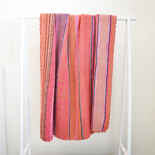 Vintage Peruvian Rug - Pink and Orange Mix with Navy Accents