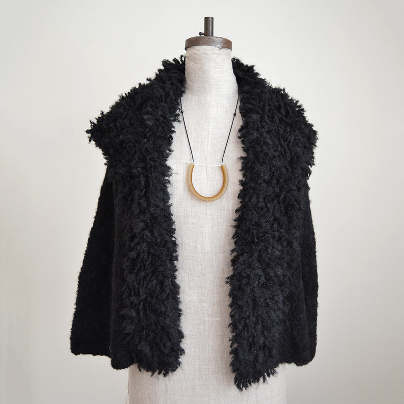 Alpaca Cardigan with Big Collar - Black