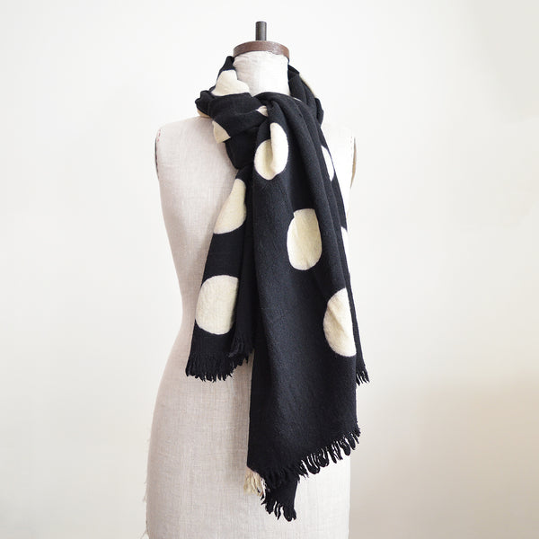 Soft and cozy Polka Dot Khadi Shawl (or scarf or throw!) in striking black and white pattern with large polka dots. Perfect for cooler months or year-round as a stylish throw.