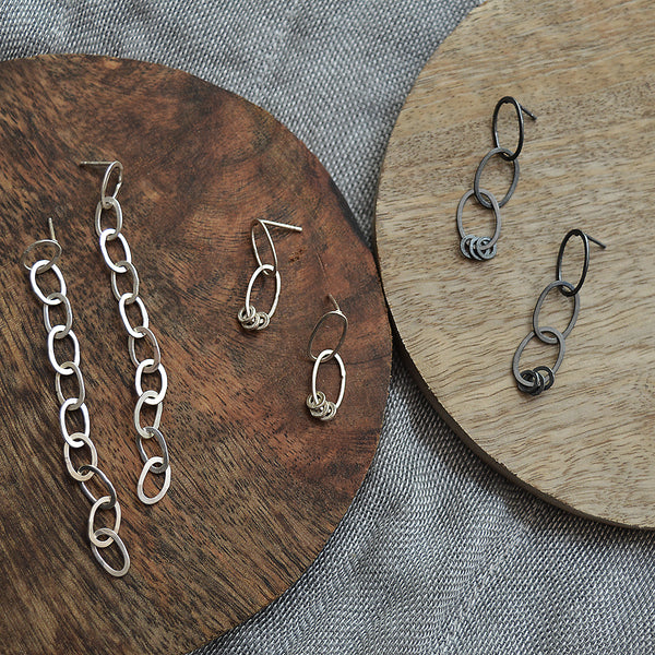 Sterling silver chain earrings handmade by San Francisco artist Siedra Loeffler. gift for her