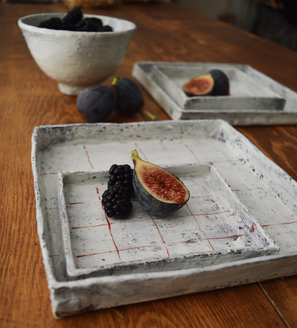 Handmade Square Ceramic Plates - Red