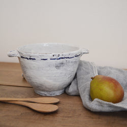 Inspired by the traditional Breton bowls from where the artist is from, the bowls have two two tiny handles, or ears. They are sized perfectly for ice cream, cereals or a cup of soup.