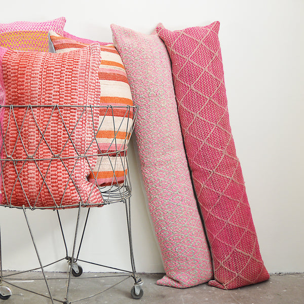 Made of vintage Peruvian blankets, these 100% extra long wool pillows will look gorgeous on your sofa or across your bed.  Each pillow is unique as it is cut from a vintage, handwoven blanket.  Organic dyes.