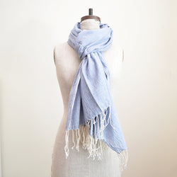 Light weight blue chambray scarf, idea to wear year long. Natural color fringes. 100% cotton khadi (hand woven with hand spun yarn)