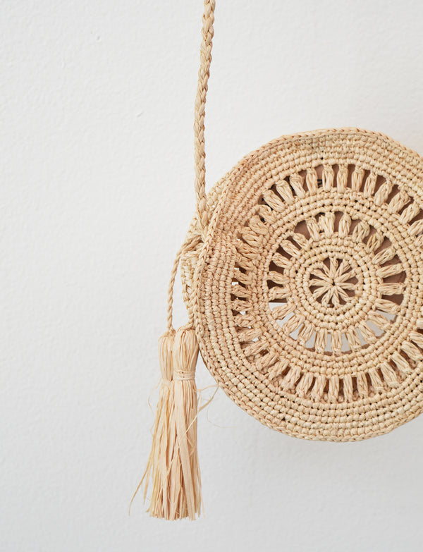 Mini Circle Raffia Bag with tassels
