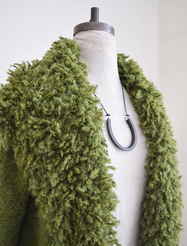 Alpaca Cardigan with Big Collar - Moss Green