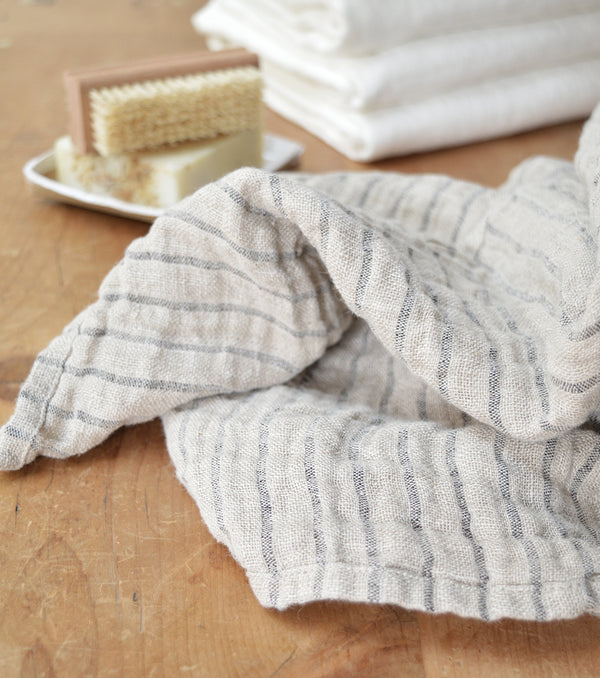 Striped Linen Bath Towel