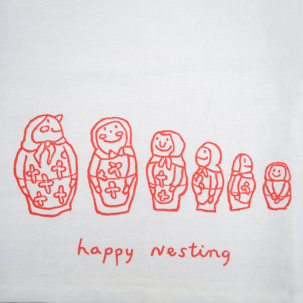 Happy Nesting Tea Towel