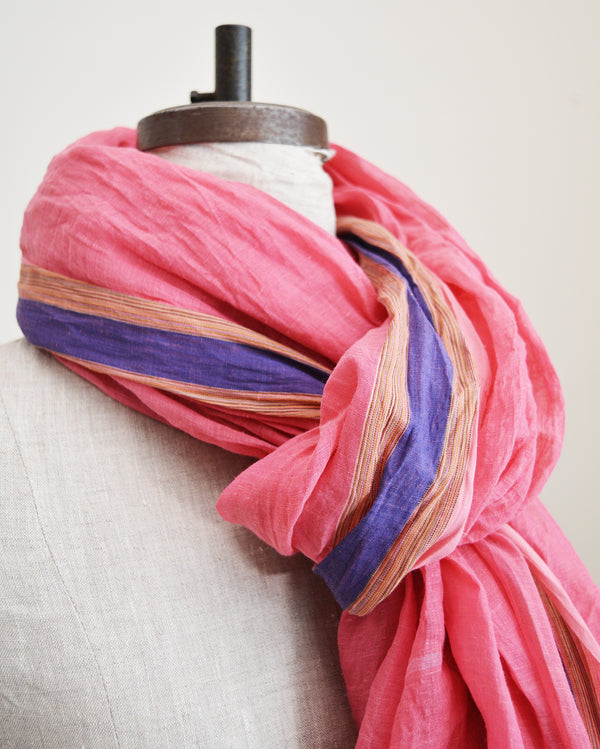 Cotton Sari Scarf - Pink with Blue Stripe