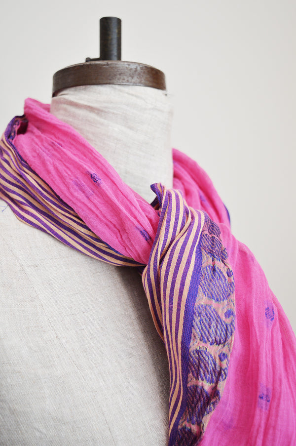 We're loving the bright colors of these cotton scarves! Cut from Indian saris, not two exactly alike.  Also perfect at the beach as a sarong or as a head wrap.